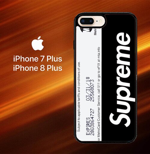 Custodia Cover iphone 7 plus 8 plus Limited Edition Black Supreme MetroCards Z7104 Case