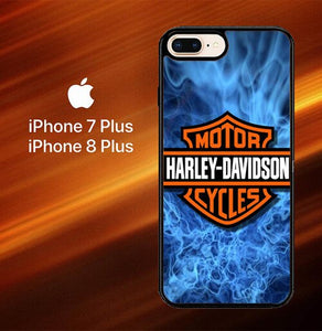 Custodia Cover iphone 7 plus 8 plus Harley Davidson Blue Flame X4978 Case