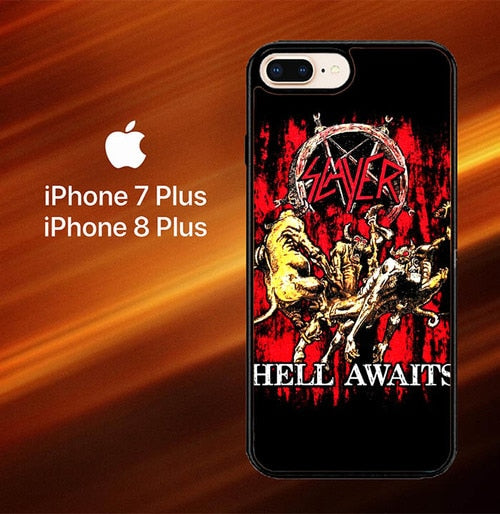 Custodia Cover iphone 7 plus 8 plus SLAYER Hell awaits Black Metal Band Y0001 Case