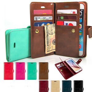 Portafoglio di Pelle Custodia TRIPLA Flip Book Case Cover iPhone 11 XR  Galaxy S20+ 10 10 9 Note