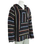 Load image into Gallery viewer, Mexican Baja Jerga Hoody - Grey & Coloured Stripe