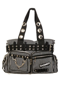 Black & White Striped Handcuff Handbag