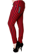 Load image into Gallery viewer, STRIPE SKINNY JEANS – RED + BLACK