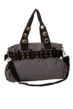 Load image into Gallery viewer, Black & White Striped Handcuff Handbag