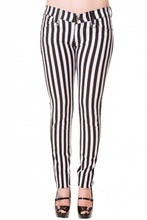 Load image into Gallery viewer, White & Black Stripe Skinny Jeans