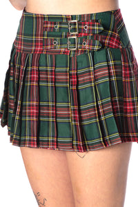 Green Tartan Mini Skirt