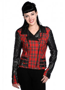 Banned Red Tartan Faux Leather Jacket