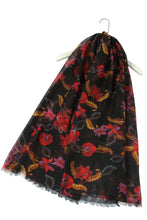 Load image into Gallery viewer, Oriental Floral Print Frayed Scarf - BLACK