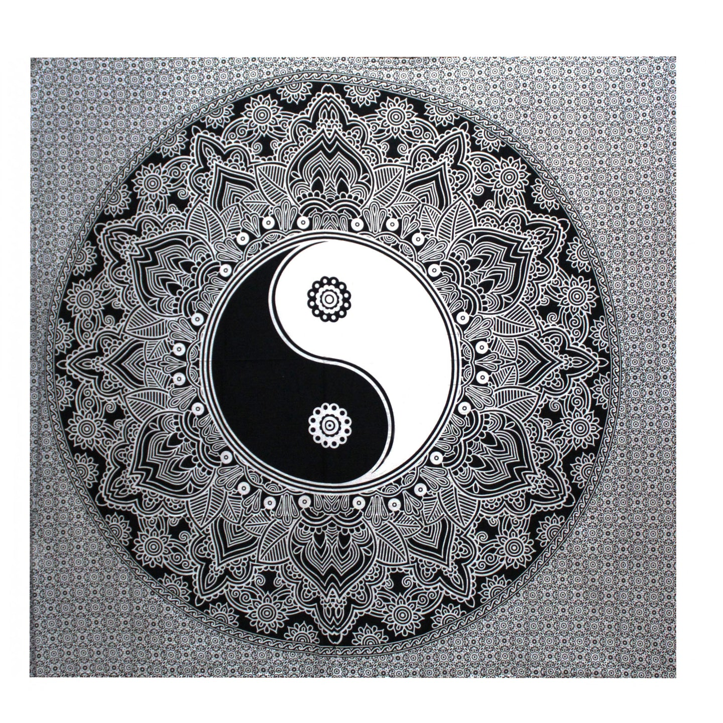 B&W Double Cotton Bedspread + Wall Hanging - Yin Yang