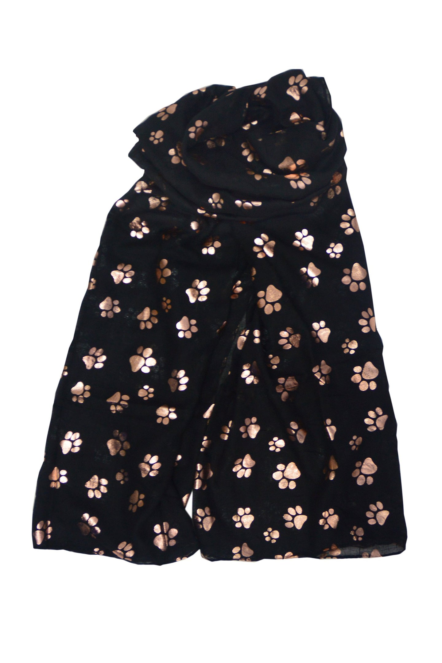 Rose Gold Paw Print Scarf - BLACK
