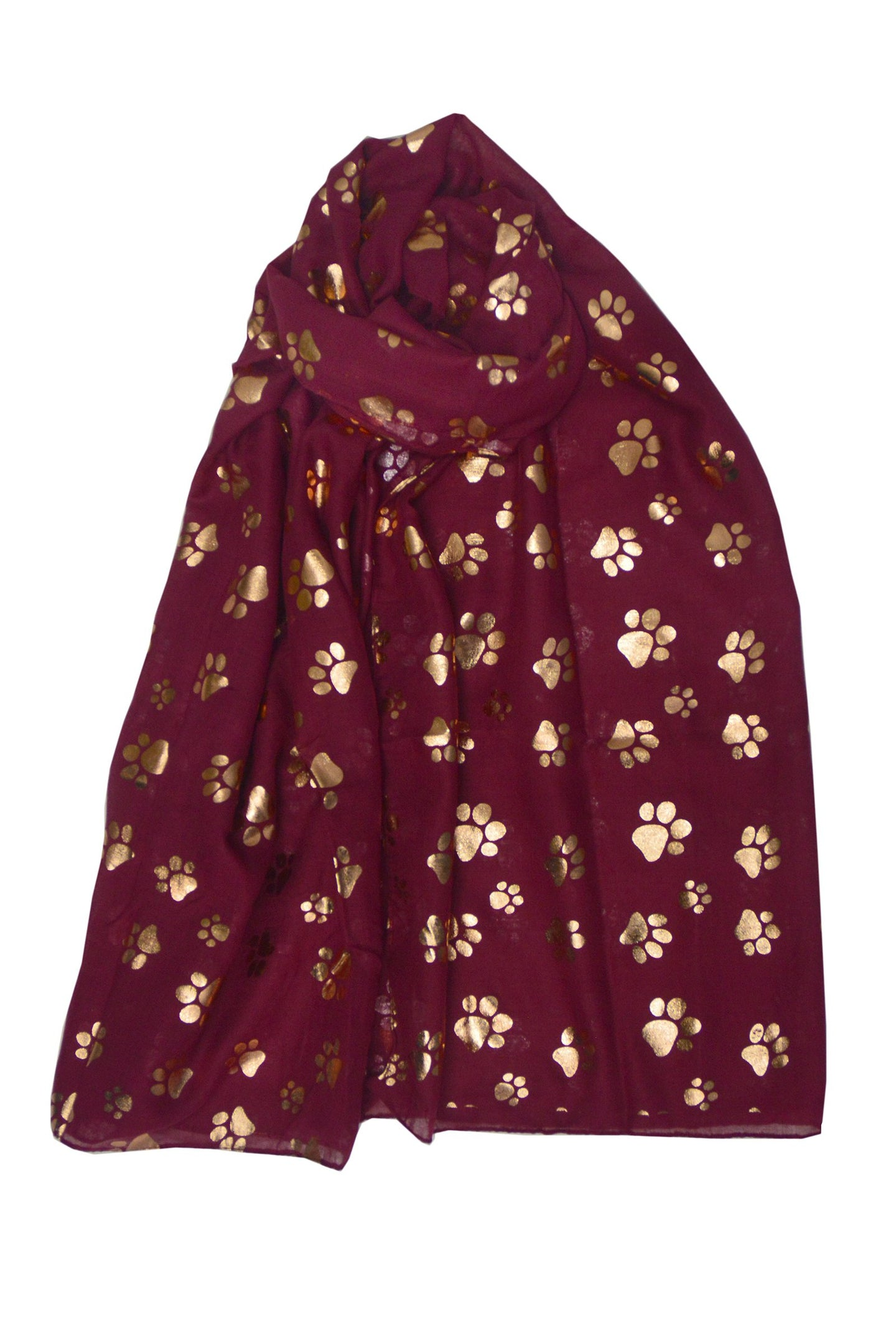 Rose Gold Paw Print Scarf - WINE