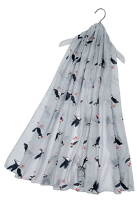 Cute Puffin Sea Bird Print Scarf – LIGHT GREY