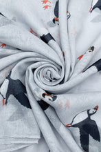 Load image into Gallery viewer, Cute Puffin Sea Bird Print Scarf – LIGHT GREY