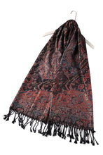 Load image into Gallery viewer, Paisley Metallic Thread Pashmina Scarf – BLACK