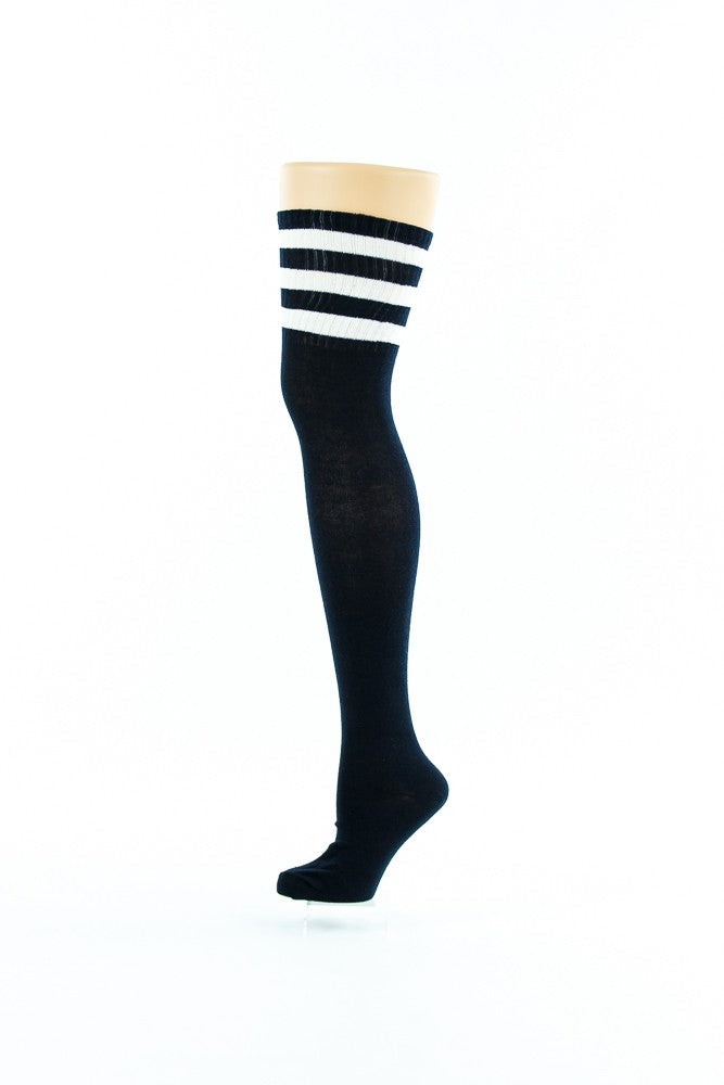 BLACK, THREE WHITE LINES THIGH HIGH SOCKS