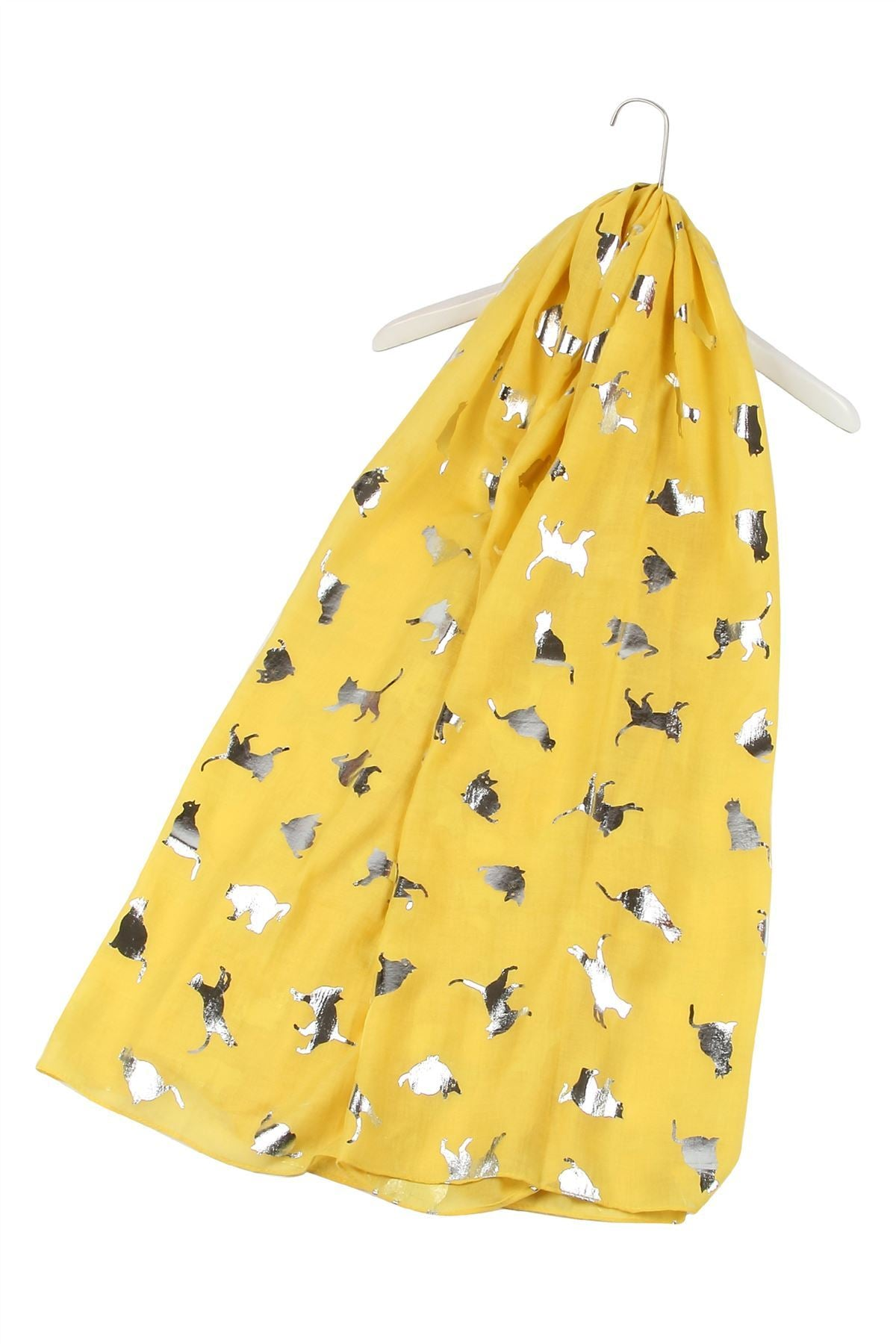 Silver Foiled Cat Print Frayed Scarf - YELLOW