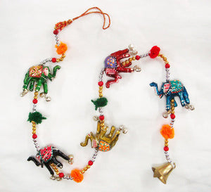 Hanging Painted Elephants with Bell - 5 Elephants