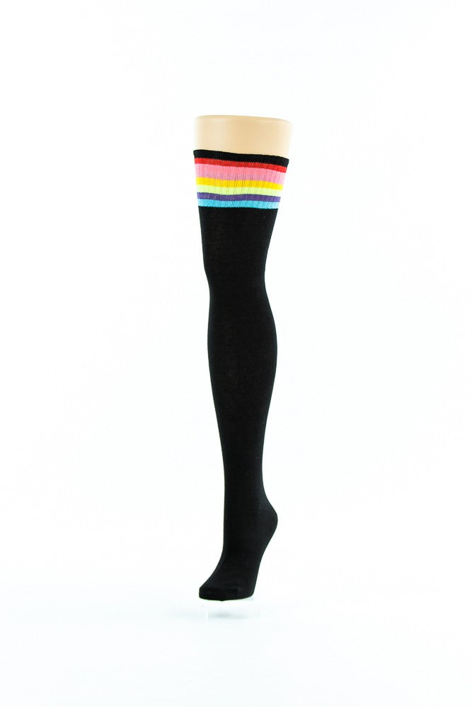 BLACK, MULTI COLOURED LINES KNEE HIGH SOCKS