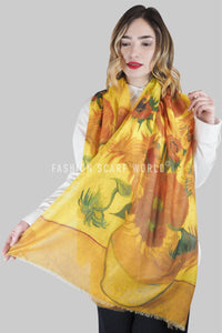 Van Gogh Twelve Sunflowers Print Scarf