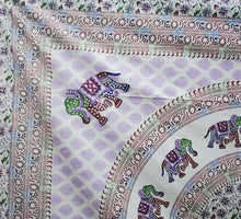 Load image into Gallery viewer, Cream Base Elephant Mandala(Purple) Throw/Bedspread