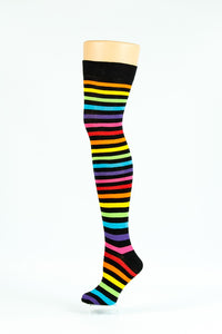 BLACK RAINBOW OVER-THE-KNEE SOCKS