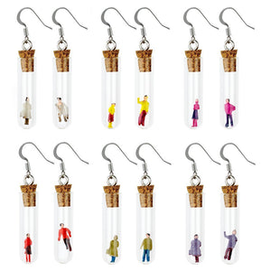 Test Tube Man & Woman Drop Earrings