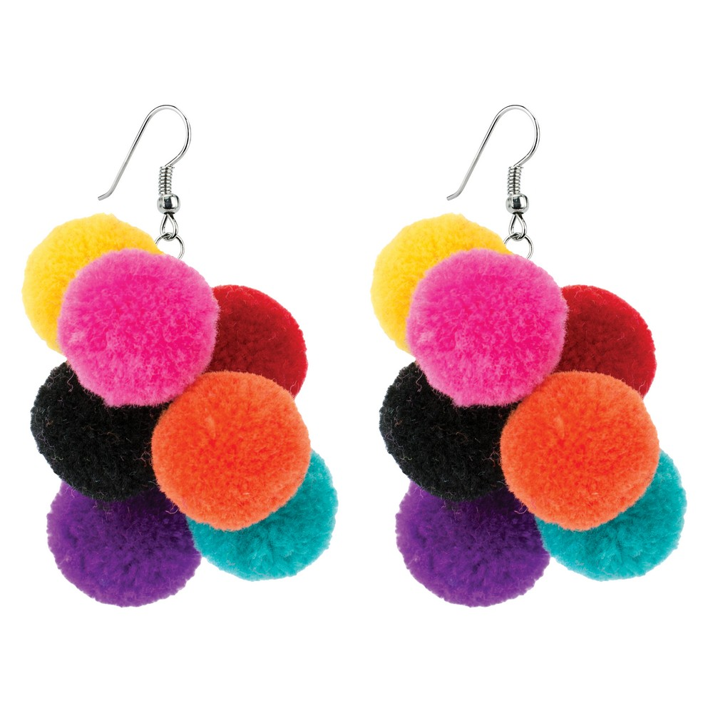 Pom Pom Bunch Drop Earrings