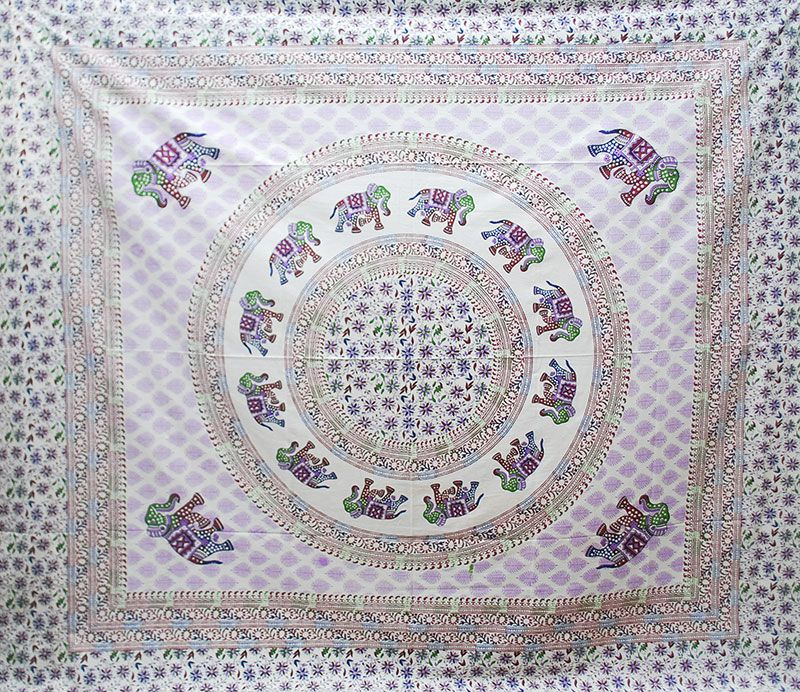 Cream Base Elephant Mandala(Purple) Throw/Bedspread