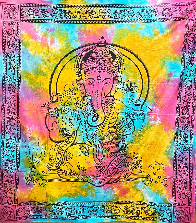 Tie Dye Ganesh Throw/Bedspread