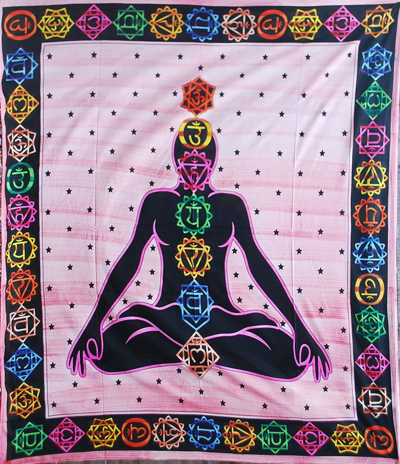 Multicolour Chakra Throw/Bedspread - PINK