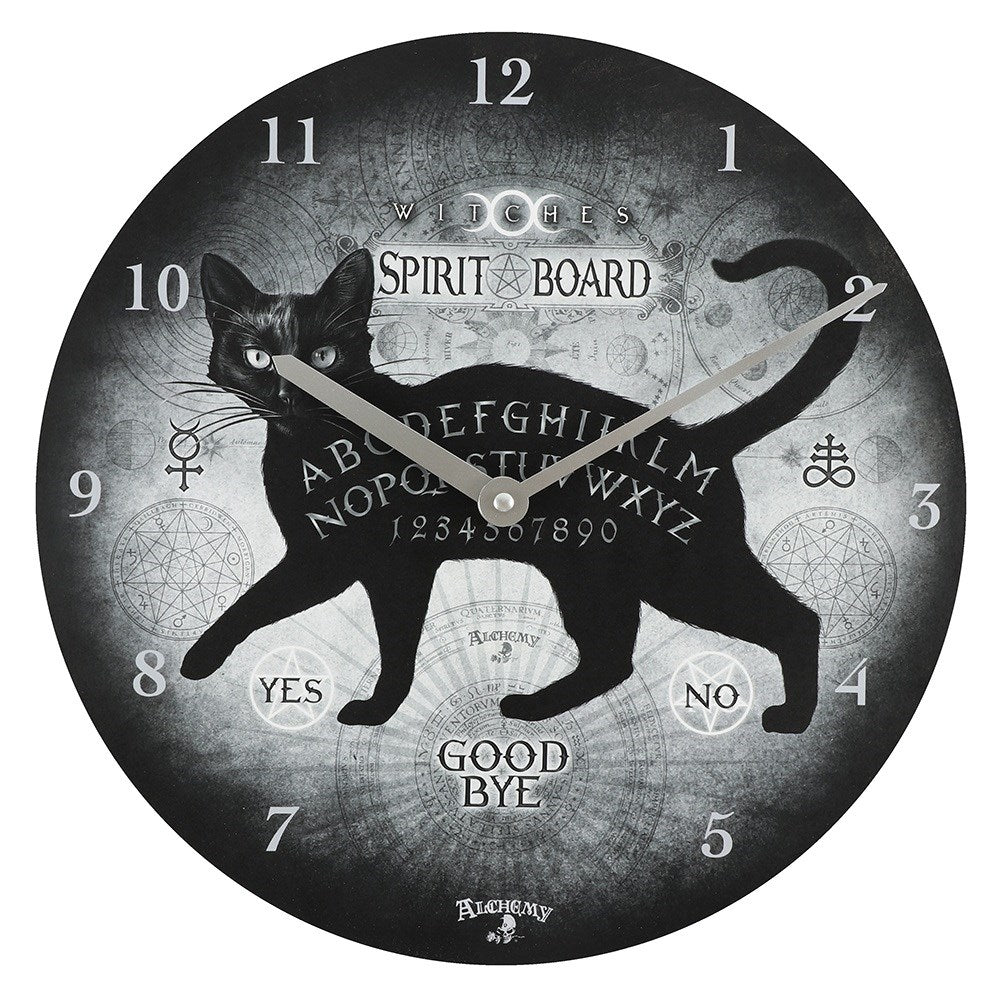 ALCHEMY BLACK CAT SPIRIT BOARD CLOCK