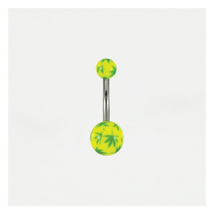 Neon Cannabis Leaf Belly Bar