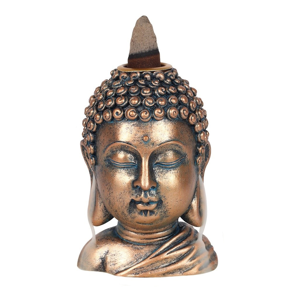 BRONZE BUDDHA HEAD BACKFLOW INCENSE BURNER