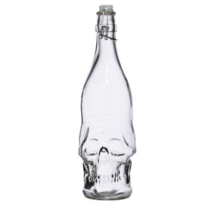 Skulls & Roses Clear Glass Skull Shaped Water Bottle 1L