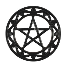 Load image into Gallery viewer, BLACK WOODEN PENTAGRAM WALL ART