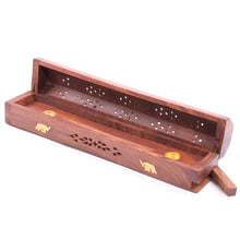 Load image into Gallery viewer, Wooden Incense Stick/Cone Burner Ash Catcher Box