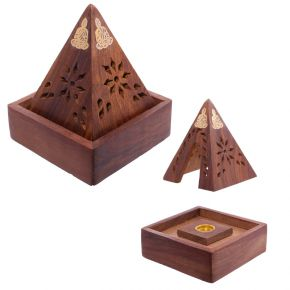 Wooden Pyramid Incense Cone Burner
