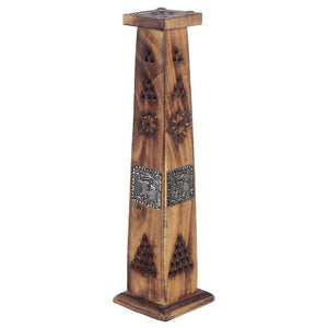 Mango Wood Tower Incense Burner with Elephant Inlay