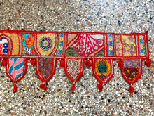 Load image into Gallery viewer, Large Decorative Embroidered Indian Toran/Wall hanging - RED
