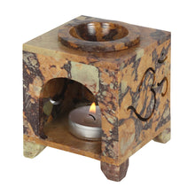 Load image into Gallery viewer, CARVED OM SYMBOL SOAPSTONE OIL BURNER