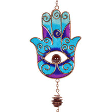 Load image into Gallery viewer, BLUE HAND OF HAMSA WINDCHIME