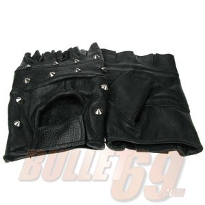 Conical Studded Leather Biker Fingerless Gloves