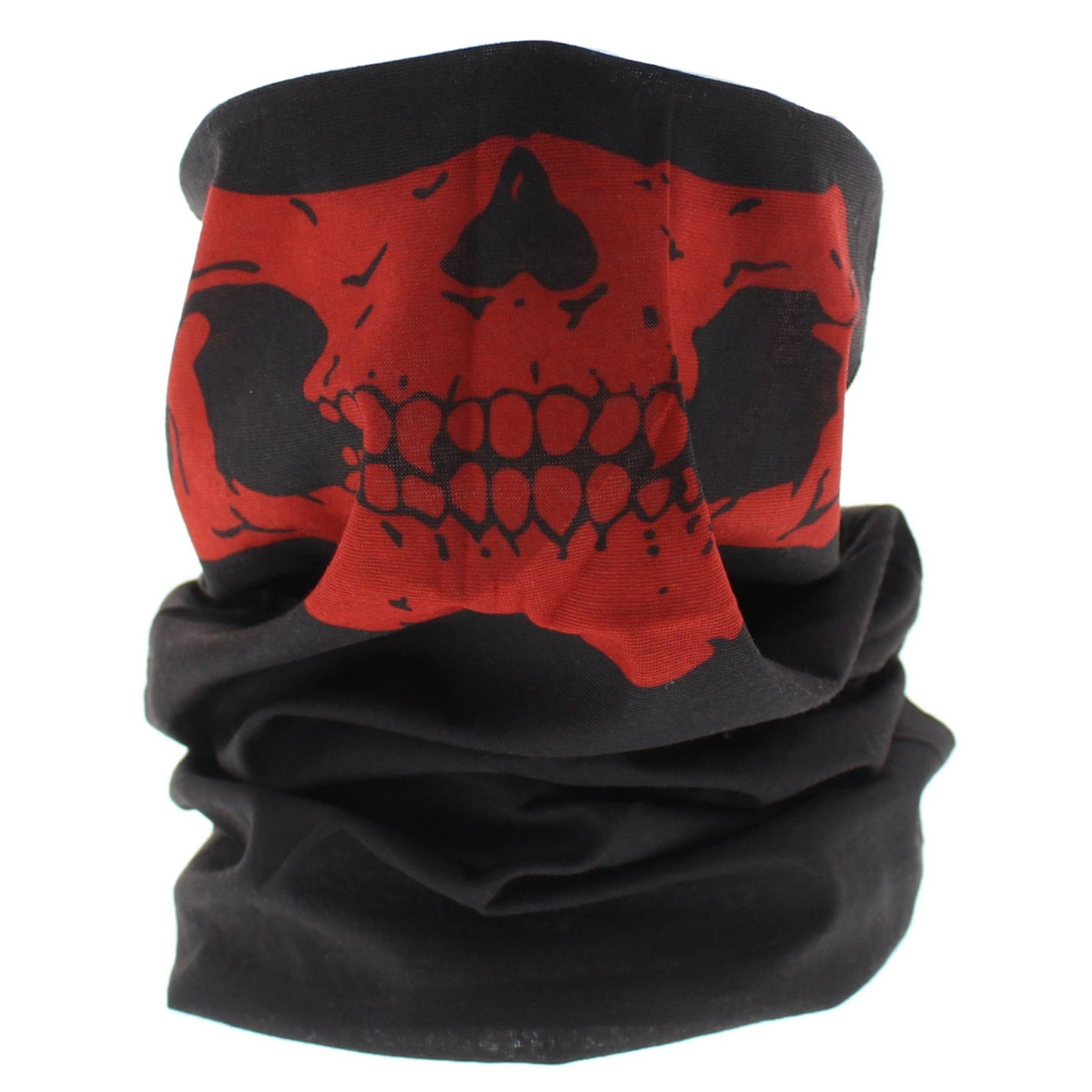 Black+Red Skeleton Mouth Snood/Face Covering