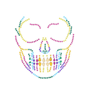 Scary Skeleton Rainbow Halloween Face Gems Set