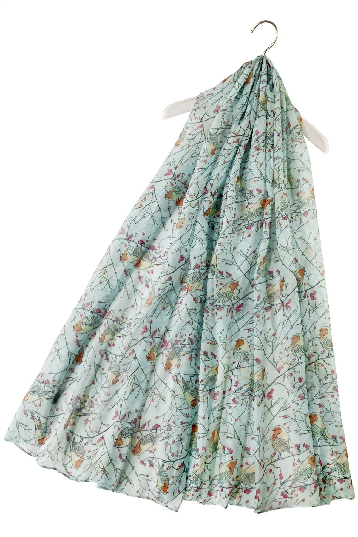 Robin Bird on Branch Print Scarf -  BABY BLUE