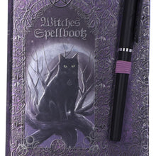 Load image into Gallery viewer, Embossed Black Cat Witches Spell Book A5 Journal with Pen