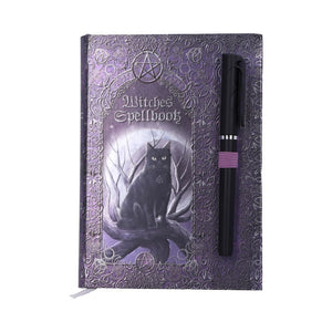 Embossed Black Cat Witches Spell Book A5 Journal with Pen