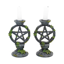 Load image into Gallery viewer, Wiccan Pentagram Candlesticks (Set of 2)