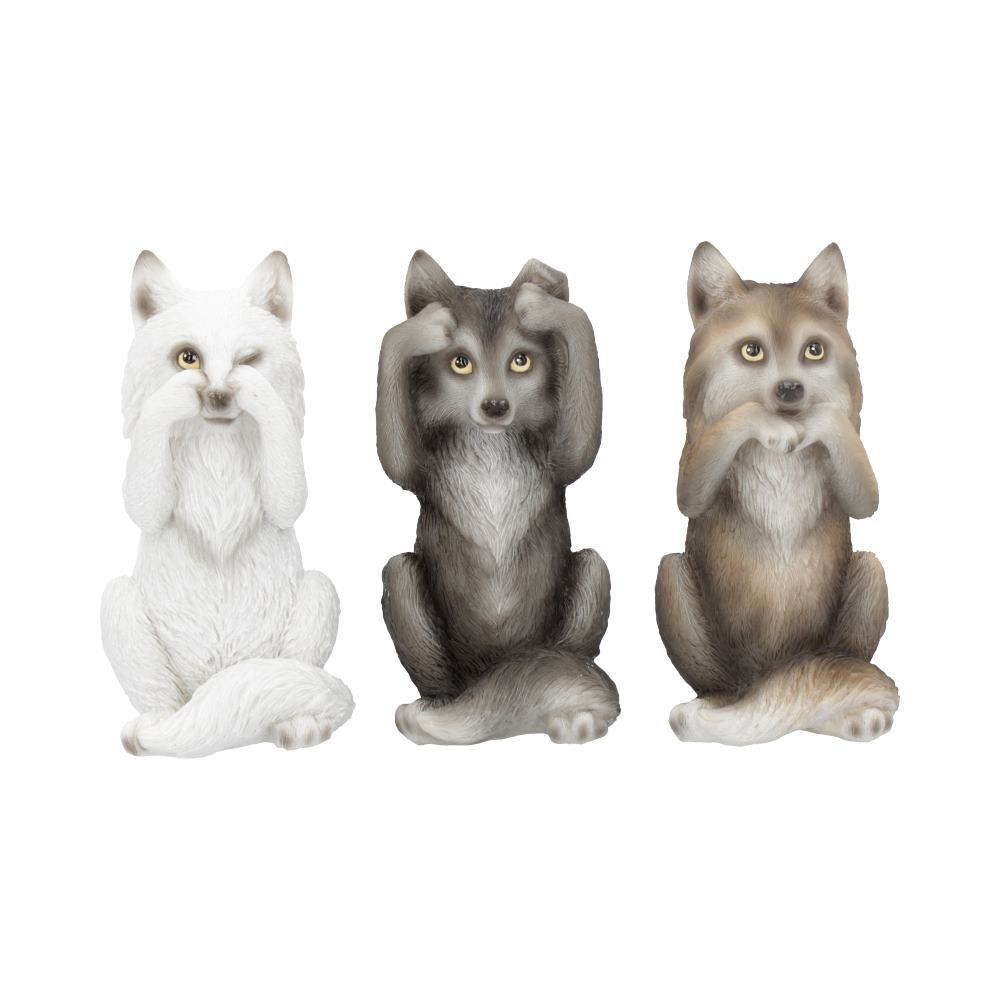 Three Wise Wolves Figurines