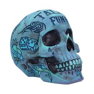 Aqua Blue Traditional, Tribal Tattoo Fund Skull
